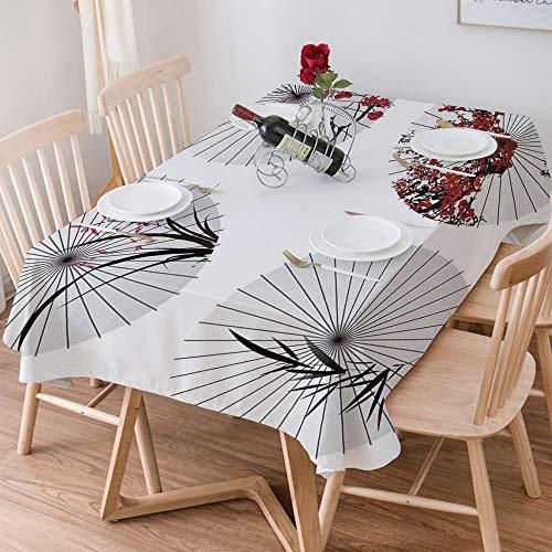 Wachstuch Tischdecke 140x200 cm,Apartment-Dekor, Gruppe von ethnischen Sonnenschirm mit wirbelnden f,Rechteckige Tischabdeckung Gartentischdecke für Gastronomie, Feste, Party, Hochzeiten oder Haushalt