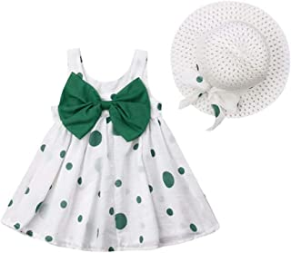 c5d9fa43e5 Toddler Baby Girls Party Tutu Dresses Sleeveless Dot Bowknot Flower Dress  with Straw Hat Summer Outfits