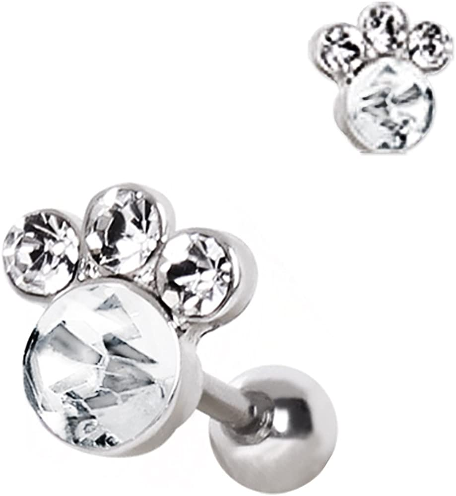Cocobul Body Jewelry 316L Surgical Steel Gemmed Animal Paw Cartilage Earring
