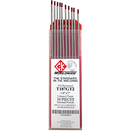 """TECHNIWELD USA 1//16/"""" X 7/"""" 2/% THORIATED TUNGSTEN ELECTRODE 10//PACKAGE"""