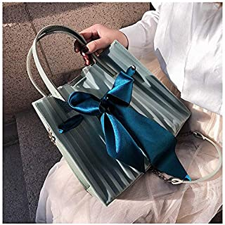 Adebie - Summer New Scarf Bow Transparent Clear Women Handbag Beach Sweet Brand Designer Crossbody Shoulder Bag Lady Jelly Large Tote Bag Green []