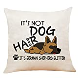 XUWELL Funny Quote It's Not Dog Hair It's German Shepherd Glitter Cotton Linen Throw Pillow Cover, Cute German Shepherd Gifts for Dog Lovers, Cushion Case for Sofa Bed Home Decor 18 x 18 Inch