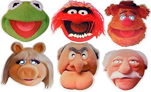 Muppets (The Multipack - 6 Gesichtsmasken aus steifen Karten - Tier, Fozzie Bär, Kermit The Frog, Fräulein Piggy, Statler und Waldorf