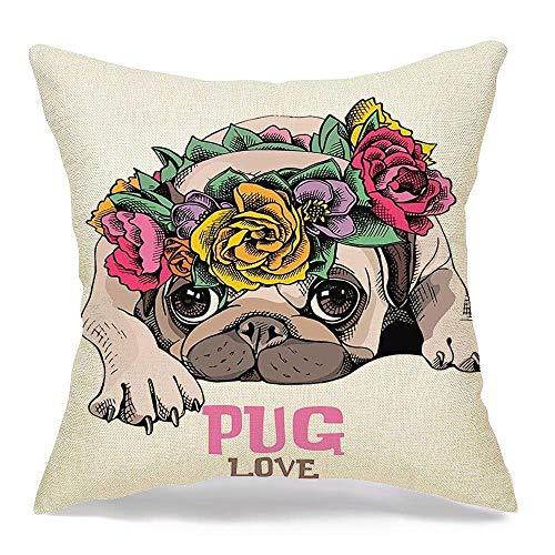 Funda de almohada decorativa de lino para cachorro de barro amasado, corona de cabeza floral, animales en la vida silvestre, niña, reposo, amigo, dibujo, belleza, rosa, moda, cómoda funda de cojín cua