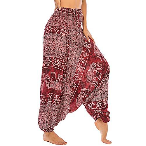 Nuofengkudu Mujer Thai Algodón Harem Pantalones Jumpsuit Hippie Boho Estampados Baggy Monos Pantalón Cintura Alta Indios Tallas Grandes Yoga Pants Pijama Verano Playa(S-Elefante Vino Tinto)