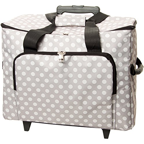 "Tacony Corporation Sewing Machine Trolley, 17"" by 13"" by 19"", Gray with White Polka Dots"
