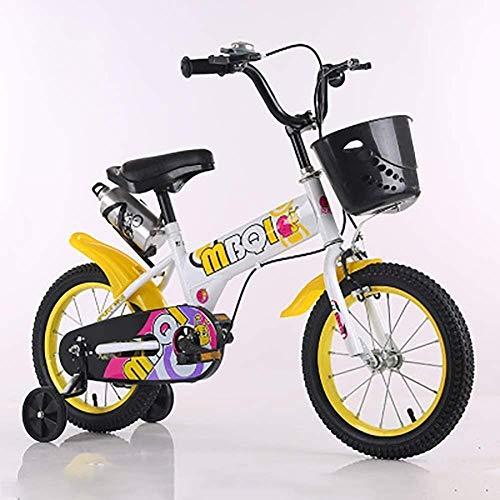 LSZ 12 14 16 18 Pulgadas Pedal de niños Bicicleta con Ruedas de Entrenamiento Rueda Inflable Ajustable Ajustable de Acero de Alto Carbono Chica Bicicleta para niños (Color : White, Size : 12)