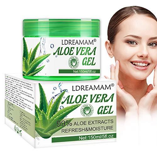 Aloe Vera Gel,Aloe Gel 100 Percent Pure Plant,Natural Raw Moisturizer for Sunburn Eczema Acne Small Cuts,Aloe Gel is Best for Face Hair Skin Soothing