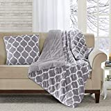 Madison Park Ogee Lightweight Blanket Premium Microlight Design Spread Oversize, Ultra Soft, Cozy Living Room Couch, Sofa, Bed, 60x70, Grey Filled Throw