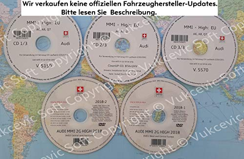 A U D I MMI 2G HIGH Navigation Software Update + 2018 Strassekarten DVD1+DVD2