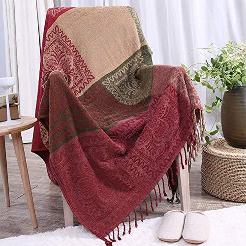 TDOYO Manta Fundas de sofá,Toalla Totalmente Cubierta Nordic Manta de sofá Estilo étnico Protector de los Muebles Cojines del sofá, Rojo Verde,150 * 190cm