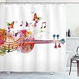 Ambesonne música Decor Collection, Violoncello con festivo de mariposas flores Happy con diseño, tejido de poliéster cortina de ducha de baño Set con ganchos, rojo verde