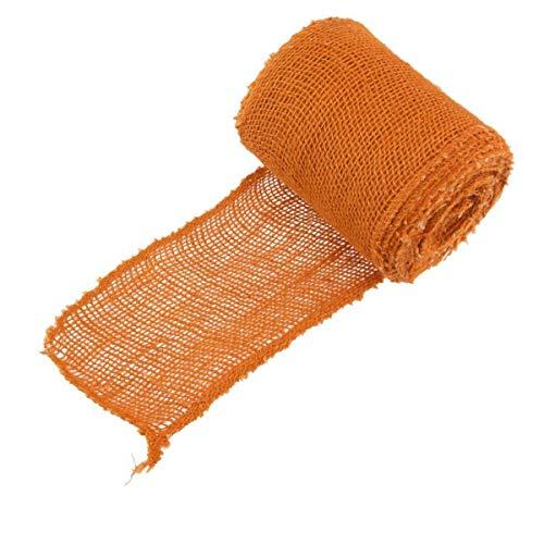 "BambooMN 5.5"" Inch Wide Color Burlap Fabric Jute Craft Ribbon Roll, 1 Roll of 10 Yards, Orange"