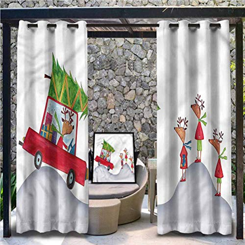 Anmaseven Christmas Polyester Indoor/Outdoor for French Door Porch Reindeer Family Noel 108' W by 96' L(K274cm x G243cm)