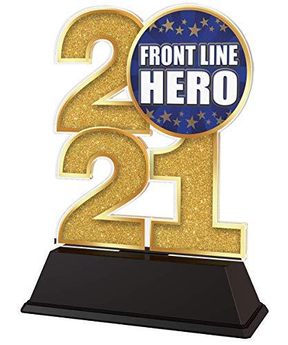 Trophy Monster 2021 Front Line Hero - Trofeo de 85 mm (oro, plata o bronce, hecho de acrílico impreso, 4 tamaños)
