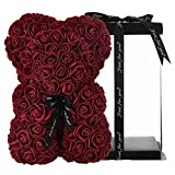 Rose Flower Bear - Rose Teddy Bear 10 inch Teddy Flower Bear - Over 250 Dozen Artificial Flowers - Anniversary & Bridal Showers Clear Gift Box (Burgundy)