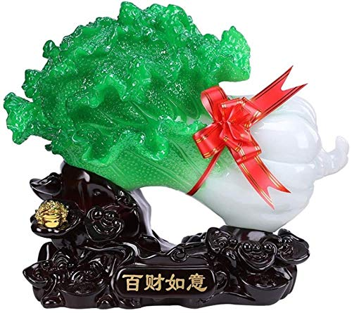 XIAOGING Jade Cabbage Decoration Home Decoration Crafts Furnishings, Feng Shui Wealth Sculpture Ornament, Office Living Room Entrance Store Opening Gift,Green (Color : Green)