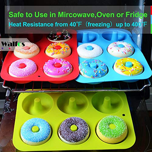 Walfos Silicone Donut Mold - Non-Stick Silicone Doughnut Pan Set, Just Pop Out! Heat Resistant, Make Perfect Donut Cake Biscuit Bagels, BPA FREE and Dishwasher Safe, Set of 2