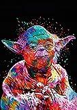 TAHEAT Kit de pintura al óleo por números para bricolaje, pinturas de pintura, nuevo dibujo de Star Wars Master Yoda con pinceles, 16 x 20 pulgadas, decoración navideña, regalos sin marco