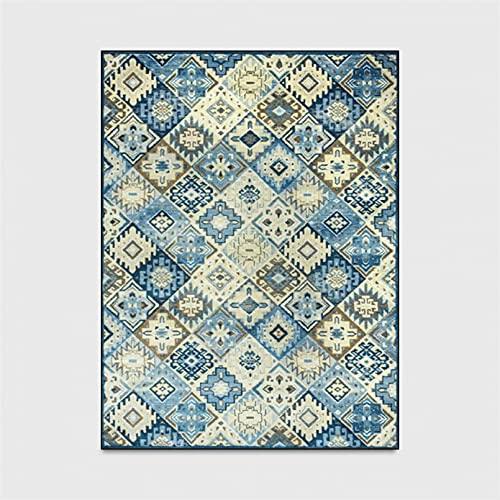 Alfombra Textiles para el hogar Estilo Europeo Celosía Retro Alfombra de Dormitorio marroquí Impresión geométrica Alfombra de Cocina Baño Alfombra Antideslizante Decoración para el hogar