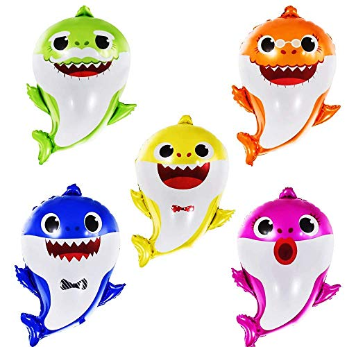 Shark Helium Balloons 24 inch, 5 Pcs Shark Family Balloons for Sea World...