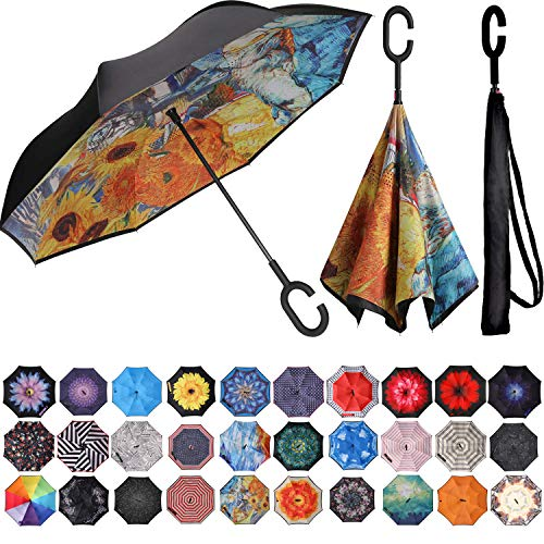 BAGAIL Double Layer Inverted Umbrella Reverse Folding Umbrellas Windproof UV Protection Big Straight Umbrella for Car Rain Outdoor with C-Shaped Handle (Sunflower Painting)