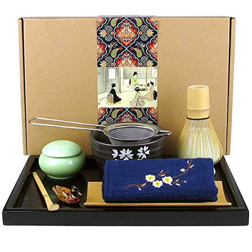 Artcome Japanese Matcha Tea Set, Matcha Whisk, Traditional Scoop, Matcha Bowl, Black Bamboo Tray, Ceramic Whisk Holder, Matcha Caddy, Handmade Matcha Ceremony Kit For Japanese Tea Ceremony (10Pcs)