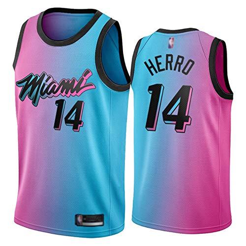 Tyler Herro Herren Jersey Miami Hitze, 2020 21 Saison # 14 Basketball Jersey T-Shirt Gestickte Sport Top Weste Atmungsaktive Sportswear (S-XXL) XL