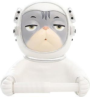 Wc-rolhouder, ruimtekat-wc-roldispenser, wandmontage waterdichte stofdichte astronautenpapierrolhouder, voor toilet-badkam...