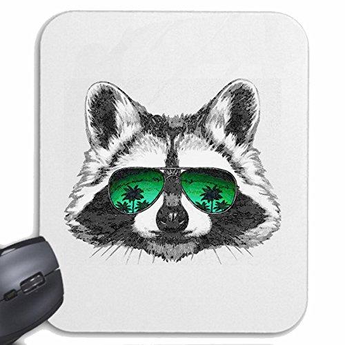 Reifen-Markt Mousepad (Mauspad) LUSTIGER WASCHBÄR MIT Sonnenbrille BÄR AMERIKANISCHE NORDAMERIKANISCHER WASCHBÄR SCHUPP Raubtier WASCHBÄREN für ihren Laptop, Notebook oder Internet PC (mit Windows Li