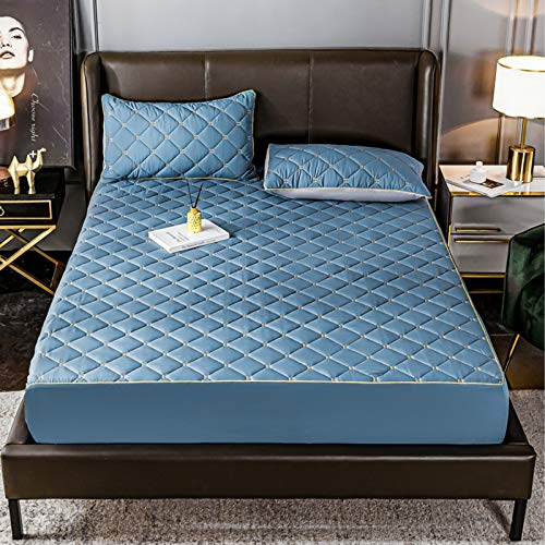 AIKES Disponible en todas las estaciones colchón, protector de colchón de poliéster, protectores de colchón transpirable y protección azul 180 x 200 x 30 cm