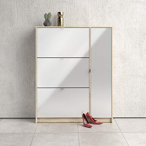 Tvilum Shoes Scarpiera, Truciolato, Quercia/Bianco Lucido, Large