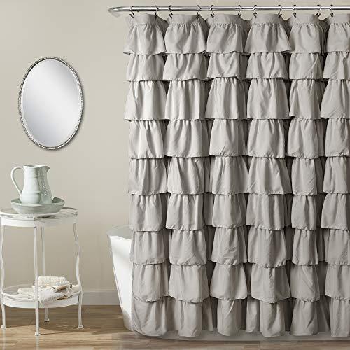 Lush Decor, Light Gray Ruffle Shower Curtain | Floral Textured Shabby Chic Farmhouse Style Design, x 72