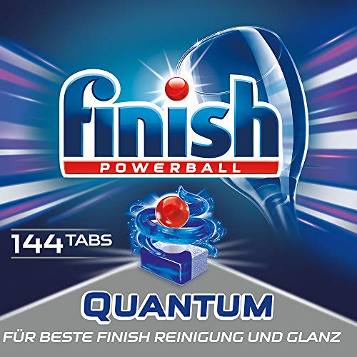Finish Quantum Spülmaschinentabs, phosphatfrei – Geschirrspültabs mit Power Gel für strahlend sauberes & glänzendes Geschirr – Für 3 Monate – Gigapack mit 144 Finish Tabs