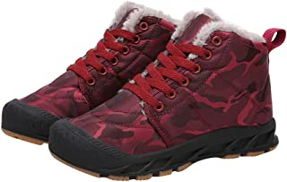 Hopscotch Boys Cloth Camouflage Print Ankle Length Lace Up Boots in Burgundy Color