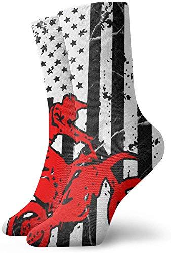 tyui7 Neuheit amerikanische Flagge Grafik Motocross Dirt Bike Socken bunte Fun Sport athletische Strümpfe für Männer Frauen