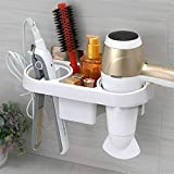 XENOTY Hair Dryer Rack Comb Holder Bathroom Storage Organizer Self-Adhesive Wall Mounted Stand for Shampoo Straightener, Bathroom Hanging Rack Storage Organizer Accessories For Blow Dryer