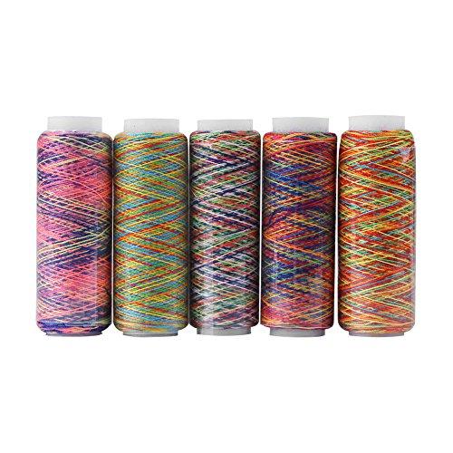 Multicolor Thread Set, 5 Spulen von Polyester Thread Yard, veränderte Polyester Manuelle Maschine Stickerei Nähgarn 110m / 120 Yard