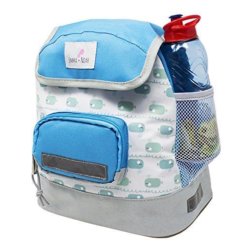 Premium Kinder Rucksack, 2-6 Jahre, Wasserabweisend, Reflektoren, Geprüfte Sicherheit, Hoher, Kinder BZW. Kleinkind Rucksack für den Kindergarten, Motiv: Wal Blau von emma & noah
