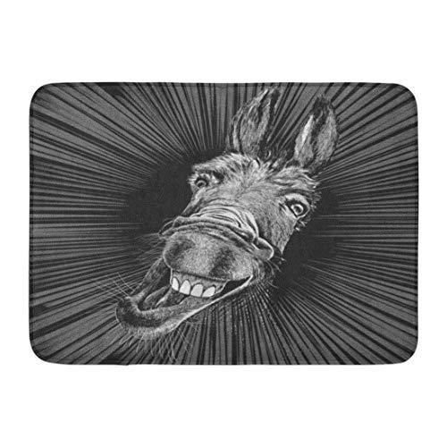 Kanaite Alfombrillas Alfombras de baño Alfombrilla para Exteriores/Interiores Gris Dibujo Divertido de Crazy Donkey Head Dibujos Animados Granja Cara Mula Baño Decoración Alfombra Alfombra de baño