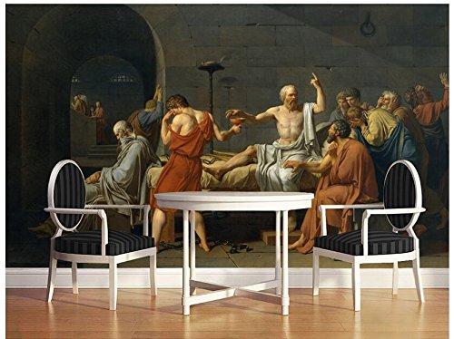 LWCX 3D Wallpaper Custom Photo 3D Wandbild Wandaufkleber 3D-Tod Des Sokrates Gemälde Malerei 3D Wall Zimmer Wandmalereien Wallpaper 250X175CM