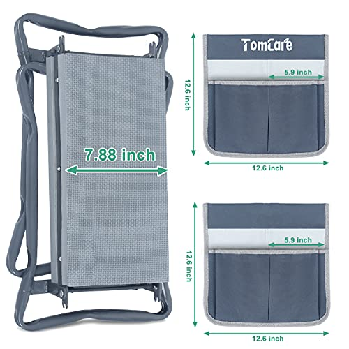 TomCare Upgraded Garden Kneeler and Seat Widen Soft Kneeling Pad Garden Tools Stools Garden Bench with 2 Larger Tool Pouches Outdoor Foldable Sturdy Gardening Tools Gifts for Gardeners, Grey