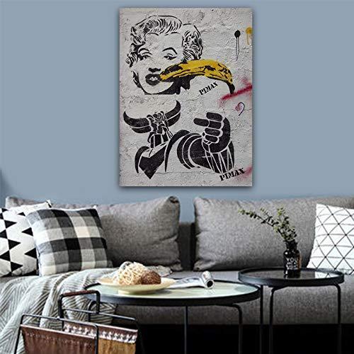 SQSHBBC Leinwand Malerei Graffiti Poster Leinwand Malerei Straße Pop-Art HD-Druck Wandbild für Wohnzimmer abstrakte Leinwand Kunst Wandmalerei A4 50X75CM Kein Rahmen