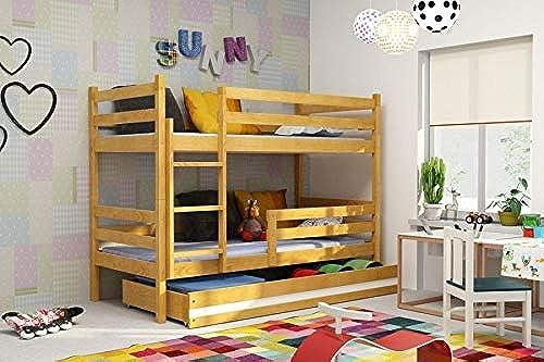 BMS Etagenbett Simon mit Bettkasten Dekor Weiß Größe Liegefl e 160 x 80cm  , Farbe Erle    olcha