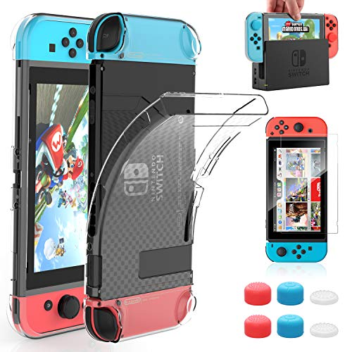 HEYSTOP Case Compatible with Nintendo Switch Dockable Clear Protective Case Cover for Nintendo Switch and Joy-Con Controller with a Nintendo Switch Screen Protector and Thumb Grip Caps