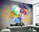 Papier Peint 3D Ampoule Créative Graffiti Coloré Décoration Murale Home Decor Art