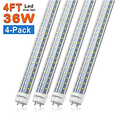 T8 LED Tube Light Bulbs 4FT, 36W 3600Lm 6000K Cool White Light, T8 T10 T12 Fluorescent Replacement Bulbs 4 Foot, High Output D-Shaped, Bi-Pin G13 Base, Dual-End Powered, Ballast Bypass (4-Pack)