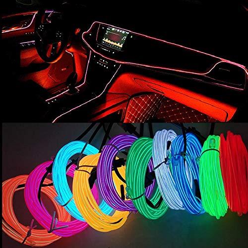 3M Car Iluminación interior tira de la decoración de la guirnalda del alambre tubo de la cuerda Línea luz de neón flexible Automotriz Decorativa ( Color Temperature : 3M USB , Emitting Color : Rojo )