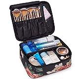 Reise-Make-up-Tasche Große Kosmetiktasche Make-up-Tasche Organizer für Frauen und Mädchen (Schwarze Pfingstrose)