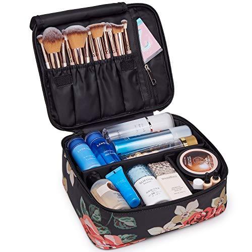Reise Kosmetiktasche Große Make-up-Tasche Schminktasche Kosmetiktasch Organizer für Damen und Mädchen (Schwarze Pfingstrose)